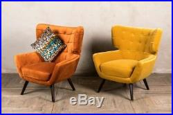 Pair Of Orange Velvet Occasional Chair Armchair Feature Chair Retro Style