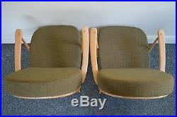 Pair Of Vintage Ercol 203 Windsor Armchairs, New Cushions & Soft Green Covers