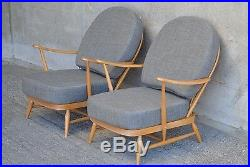 Pair Of Vintage Ercol 203 Windsor Armchairs, New Cushions & Soft Grey Covers