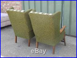 Pair of mid century retro wood framed armchairs wing back lounge chairs 1960's
