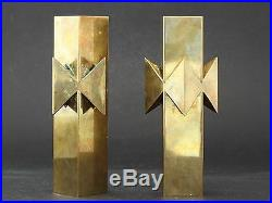 Pierre Forsell Pair of superb and rare candlesticks in brass