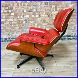 Red & Natural Cherry Herman Miller Original Eames Lounge Chair & Ottoman