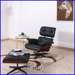 Rosewood Black EAMS Lounge Chair and footstool Genuine leather Armchair Recliner