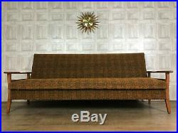 SUPERB Mid Century Teak Day Bed Sofa Tweed Guy Rogers Style £80 DELIVERY