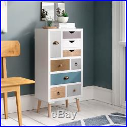 Scandinavian Chest of Drawers Mid Century Tall Wooden Cabinet Furniture White