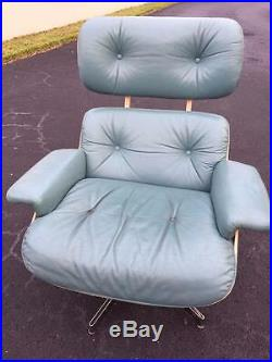 Selig Eames Style Plywood Lounge Turquoise Leather Chair