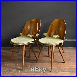 Set of 4 Walnut Funkcionalist Dining Chairs by Mier Mid Century Vintage Czech