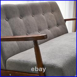 Solid Wooden Frame 2 Seater Sofa Loveseat Couch Deep Button Settee Small Sofas