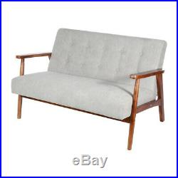 Solid Wooden Frame 2 Seater Sofa Small House Love Seat Chair Couch Sofas Fabric