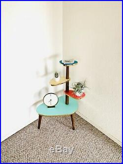Space Age Plant Stand Mid Century Side Table Formica Planter End Table Boomerang