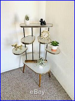Space Age Plant Stand Mid Century Side Table Formica Planter End Table Vintage