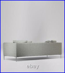 Swoon Alena Living Room Modern Light Grey Birch Three Seater Sofa RRP £1499