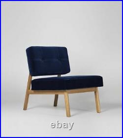 Swoon Aron Stylish Living Room Handcrafted Ink Easy Velvet Armchair RRP £399