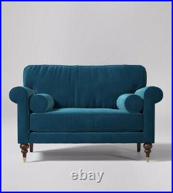 Swoon Clement Living Room Stylish Handcrafted Petrol Blue Love Seat RRP £999