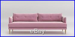 Swoon Editions Kalmar Three Seater Sofa, in Rose plush Velvet RRP £1599