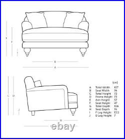 Swoon Holton Stylish Ink Blue Handcrafted Easy Velvet Love Seat RRP £1099