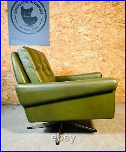 VINTAGE DANISH MID CENTURY OLIVE GREEN LEATHER LOUNGE CHAIR by SVEND SKIPPER
