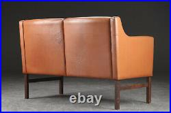 VINTAGE DANISH MID CENTURY THAMS 2 PERSON LEATHER SOFA AND CHAIR SET 1960s