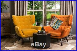 Velvet Accent Chair Occasional Chair Mid-century Style Wingback Armchair