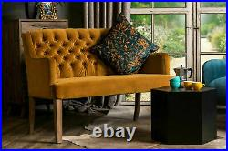 Velvet Dining Bench French Style Button Back Sofa In Three Colours
