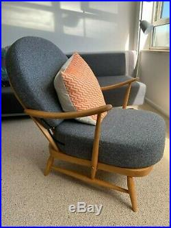 Vintage Ercol 203 Windsor Armchair, Refurbished & New Grey Cushions