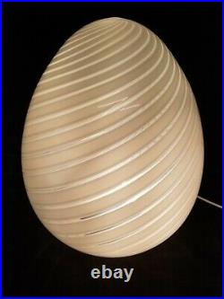 Vintage Maestri Murano 17 White Swirl Glass Egg Lamp 1970's