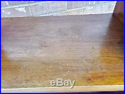 Vintage Mid Century 3 Tier End Table Surf Board Style Solid Wood 28x25