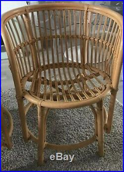 Vintage Mid Century Cane Bamboo Pair Of Arm Chair 60s 70s Rattan Boho Hippie
