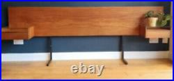 Vintage Mid Century Meredew Wood Bed Headboard Drawers & Glass Shelves King Size