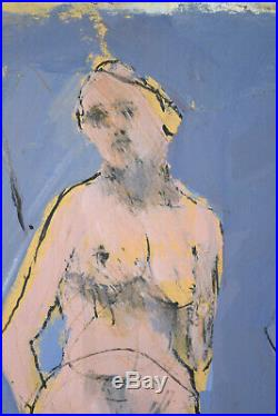 Vintage Mid-Century Modern Abstract Mixed Media Painting 3 Nudes Three Graces