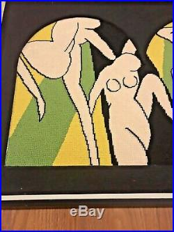 Vintage Mid Century Modern Abstract Nude Woman Dancing Needlepoint Wall Art