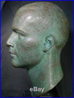 Vintage Mid Century Modern Bronze Bust Handsome Young Man Sculpture G Rebechini