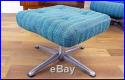 Vintage Mid Century Swivel Chair and Matching Footstool