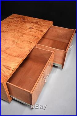Vintage Milo Baughman Burl Table with Two Drawers and Original Lucite Pulls