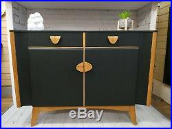 Vintage Nathan Retro Sideboard Upcycled Drinks Cabinet Black / Beech Wood Rare