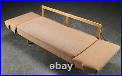 Vintage retro Danish mid century 1950s 2 seater brown wool sofa day bed couch