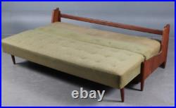 Vintage retro Danish mid century 50s 60s 3 seater teak wood sofa day bed couch