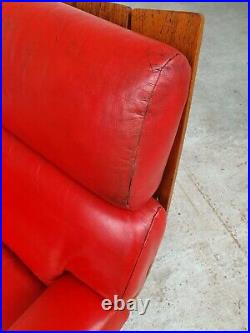 Vtg Mid Century G Plan Housemaster Red Leather Swivel Lounge Chair Armchair #398