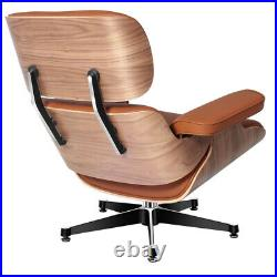 Walnut Eams Style Real Leather Lounge Chair & Footstool Armchair Living room