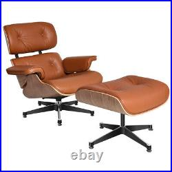 Walnut Genuine leather Eams Style Lounge Chair & Footstool Armchair Recliner TAN