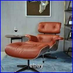 Walnut tan eams style lounge chair and footstool Full genuine leather armchair