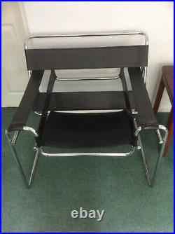 Wassily Bauhaus Style Mid Century Modern Black Faux Leather Chrome Chair