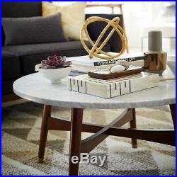 West Elm Reeve marble and walnut wood mid-century round coffee table