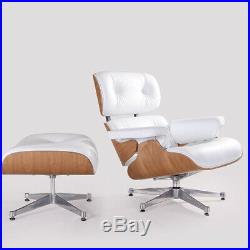 White Leather Lounge chair and Ottoman Eams style Armchair Genuine Ashwood